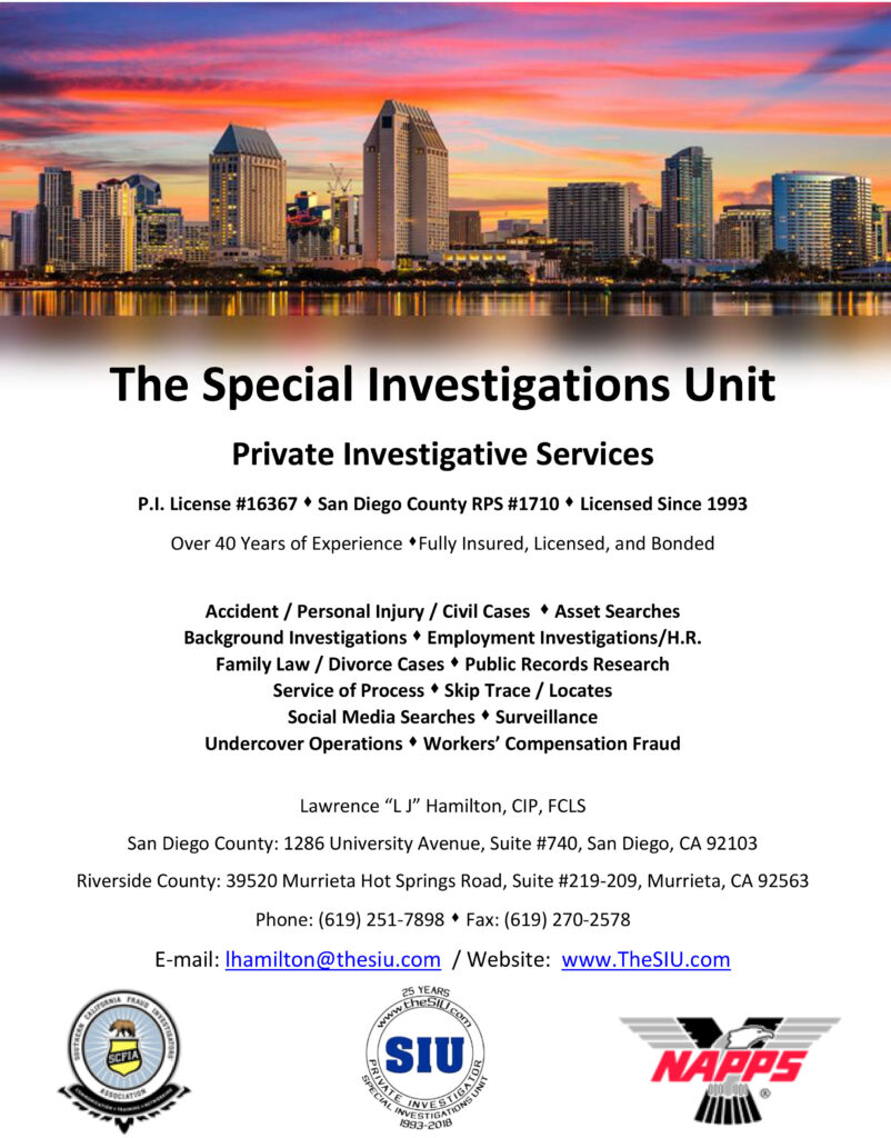 OUR COMMUNITY - SPECIAL INVESTIGATIONS UNIT ADVERTISEMENT
